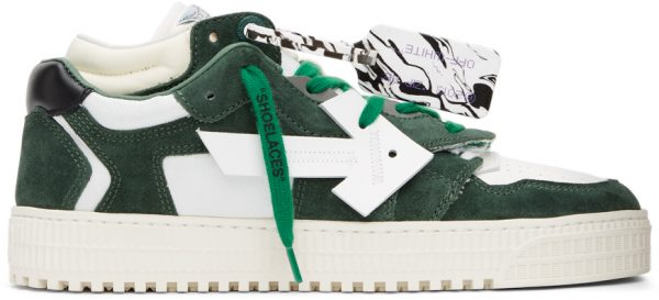 Off-White White & Green Floating Arrow Sneakers