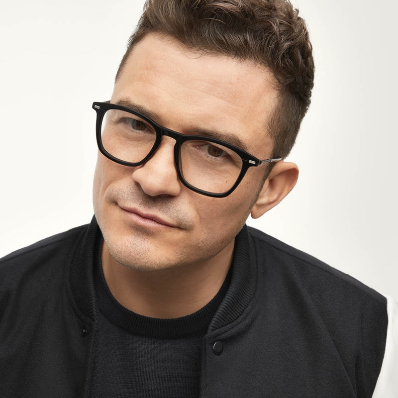 Front and center, Orlando Bloom sports black framed glasses for BOSS's eyewear campaign.