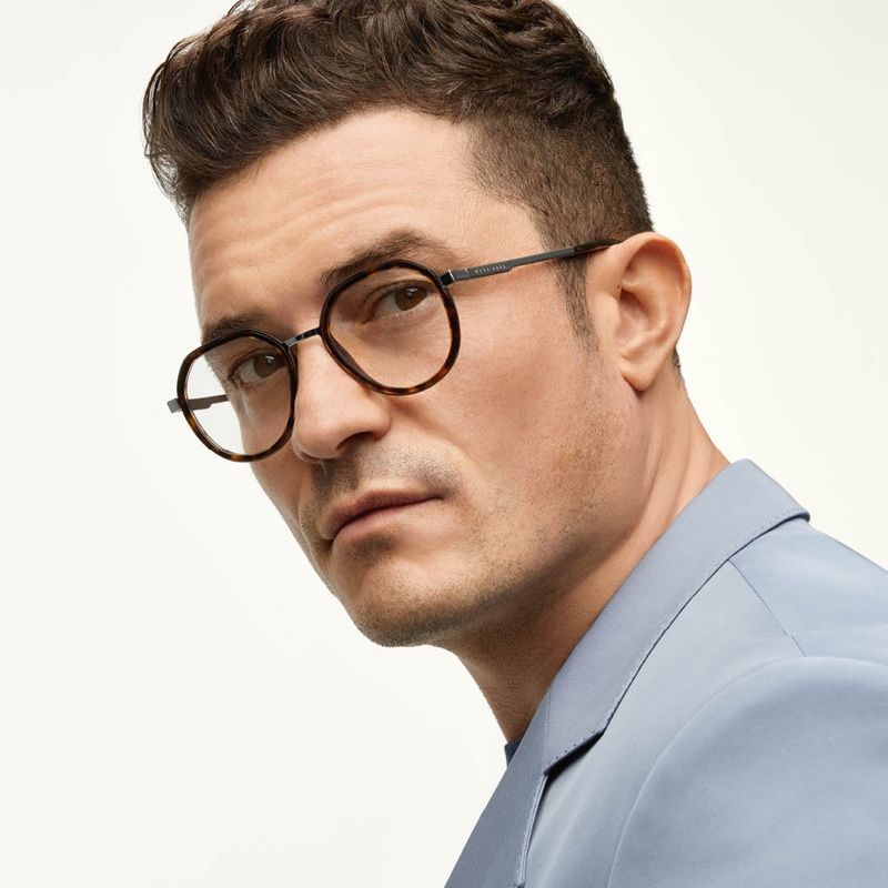Delivering an angled profile, Orlando Bloom appears in BOSS' new eyewear campaign, wearing optical frames.