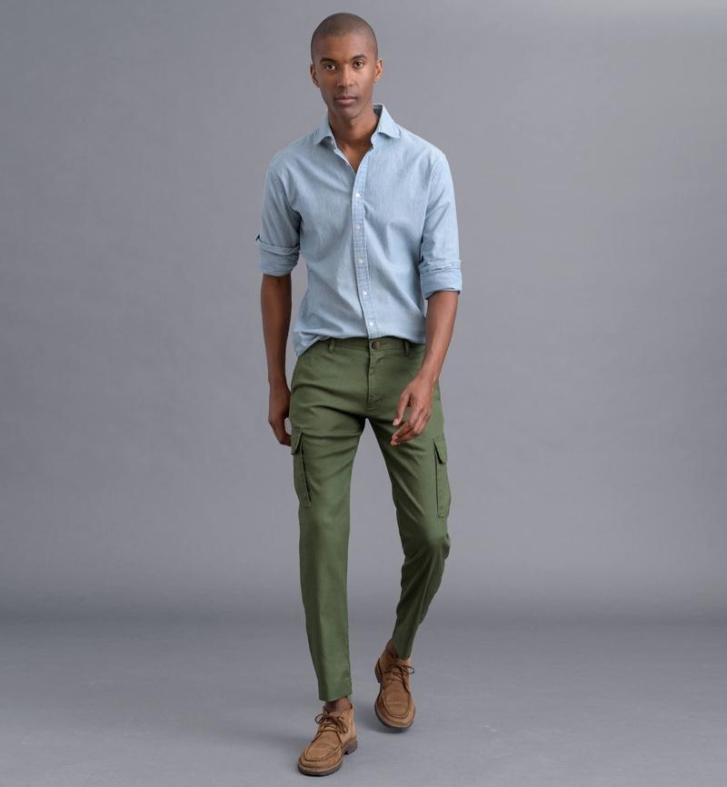 Proper Cloth Stretch Linen Blend Cargo Pants