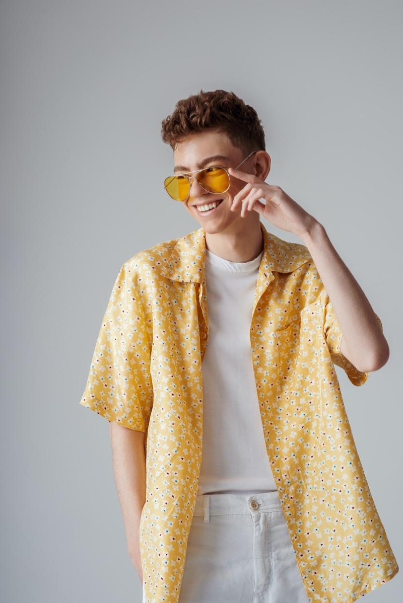 Smiling Male Short Sleeve Yellow Shirt Sunglasses Style