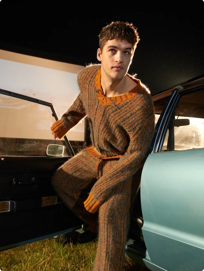Andreas Ortner photographs Roman G. in a Kenzo sweater for Stylebop's fall 2021 campaign.