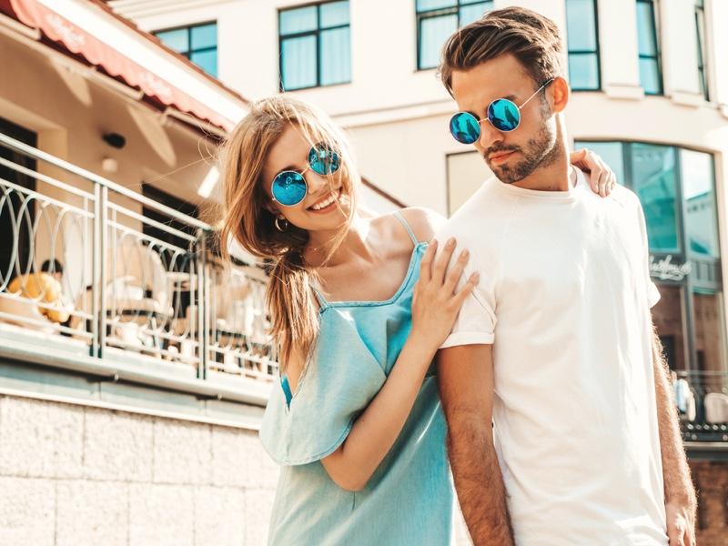 Stylish Couple Sunglasses Summer Outside