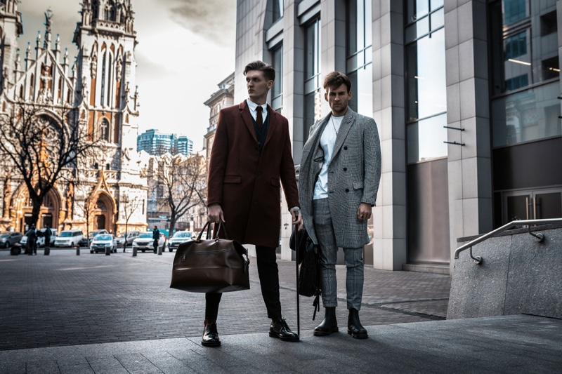 Two Male Models Business Style Coats Pants