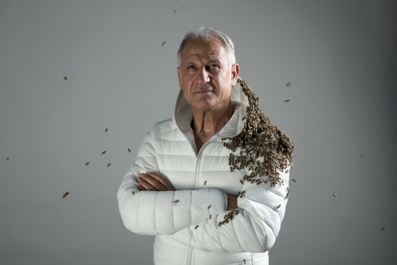"""Walter Pace of Apicoltura Colle Salera stars in Save The Duck's """"We Respect Bees"""" campaign."""