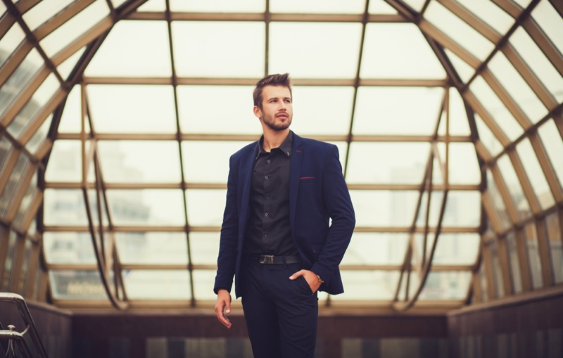 Well Dressed Man Blue Suit