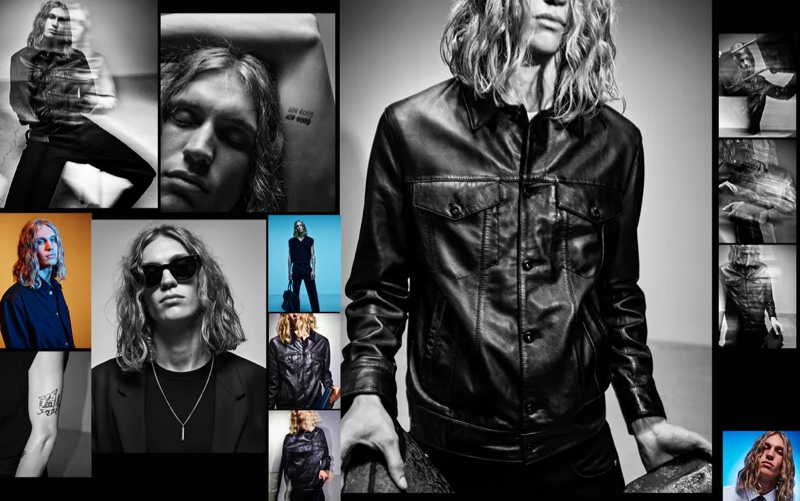 Model Caleb Altice links up with Zara to showcase new black arrivals from its pre-fall 2021 men's collection.