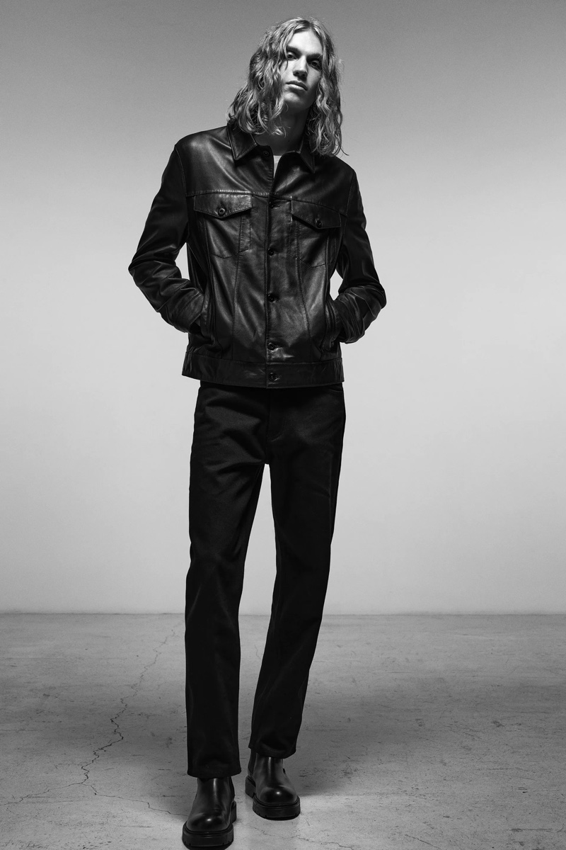 Rocking a cool essential, Caleb Altice wears a leather jacket by Zara.