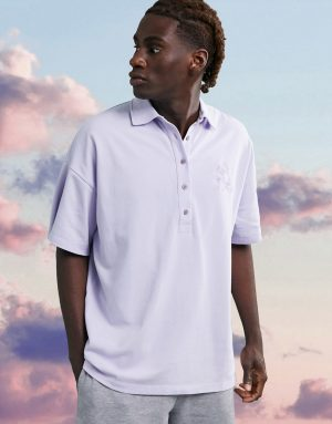 ASOS 4505 oversized polo with embroidery-Purple