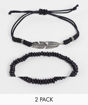 ASOS DESIGN 2-pack beaded and cord bracelets with charm in black