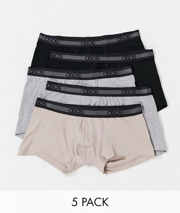 ASOS DESIGN 5-pack short trunks with tonal waistband - Save-Multi