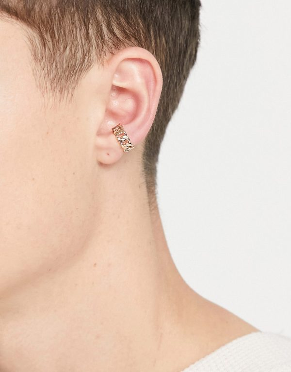 ASOS DESIGN 9mm ear cuff with chain design in gold tone