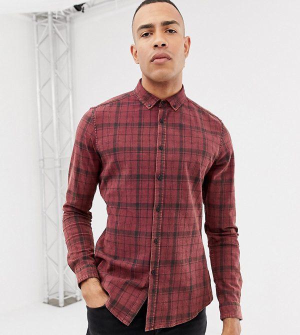 ASOS DESIGN Tall stretch slim acid wash check shirt-Red