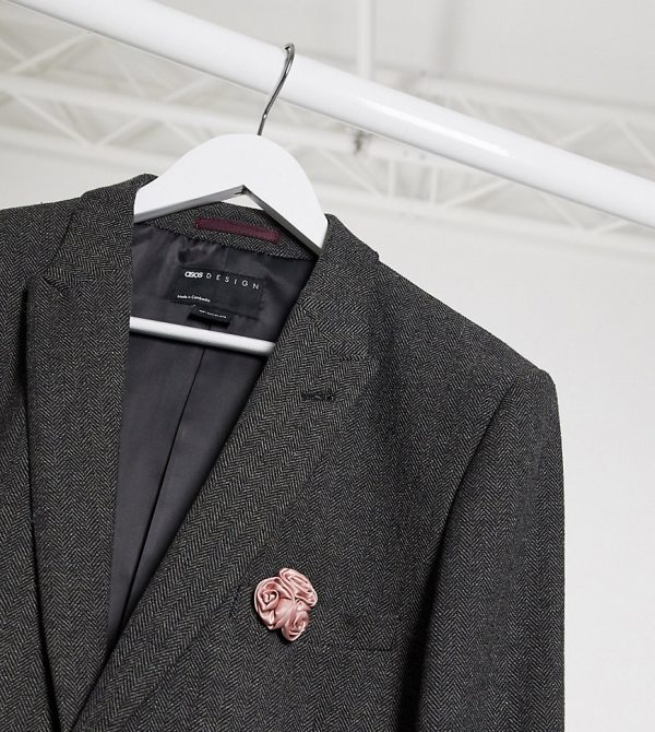 ASOS DESIGN Tall wedding super skinny suit jacket in charcoal herringbone-Grey