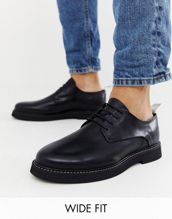 ASOS DESIGN Wide Fit lace up shoes in black leather with chunky sole