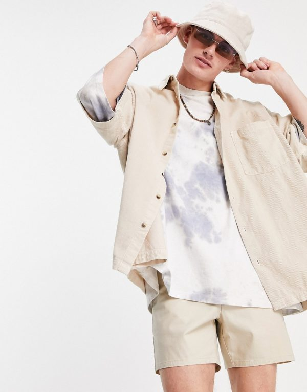 ASOS DESIGN boxy oversized cord shirt in stone-Neutral