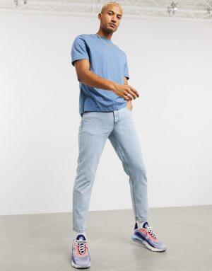ASOS DESIGN classic rigid jeans in light wash-Blues