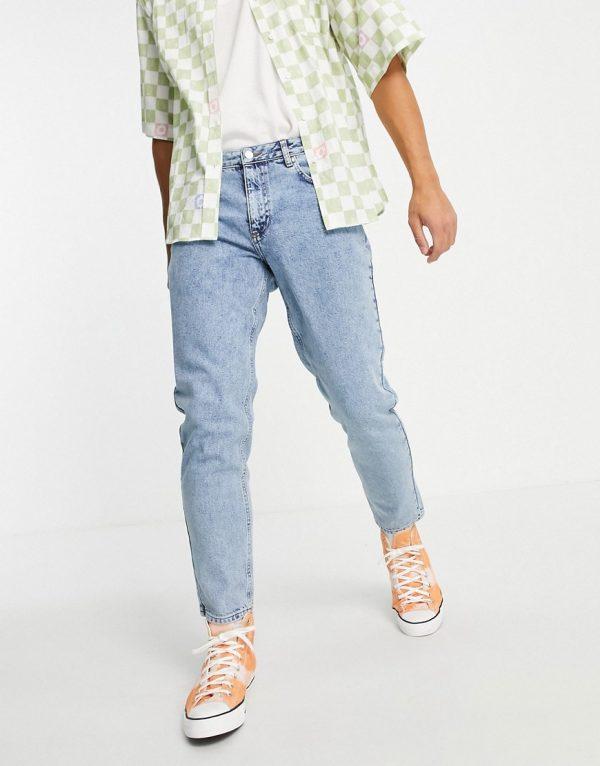 ASOS DESIGN classic rigid jeans in vintage light wash blue-Blues