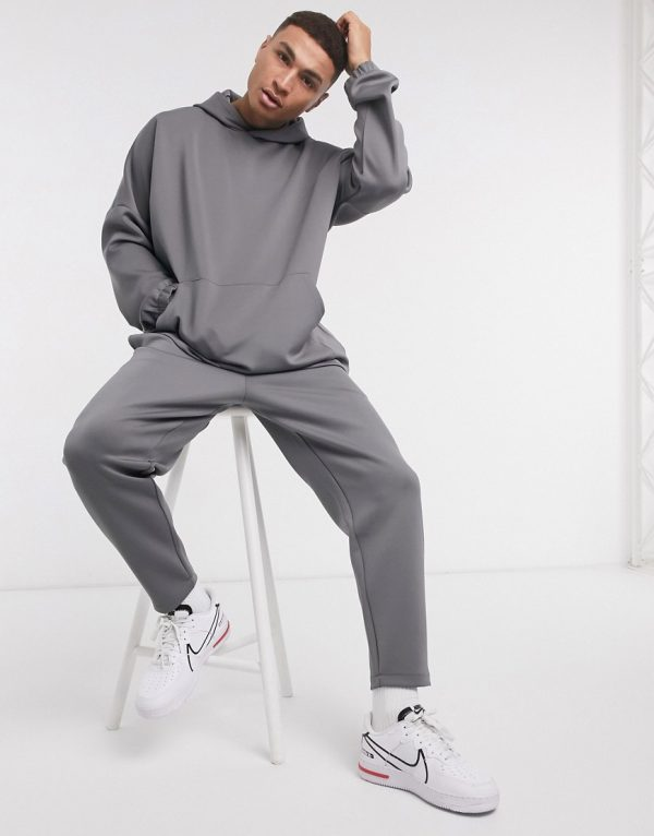 ASOS DESIGN co-ord oversized hoodie in scuba in washed black-Grey