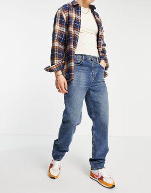 ASOS DESIGN dad jeans in vintage dark wash with elastic waist-Blues