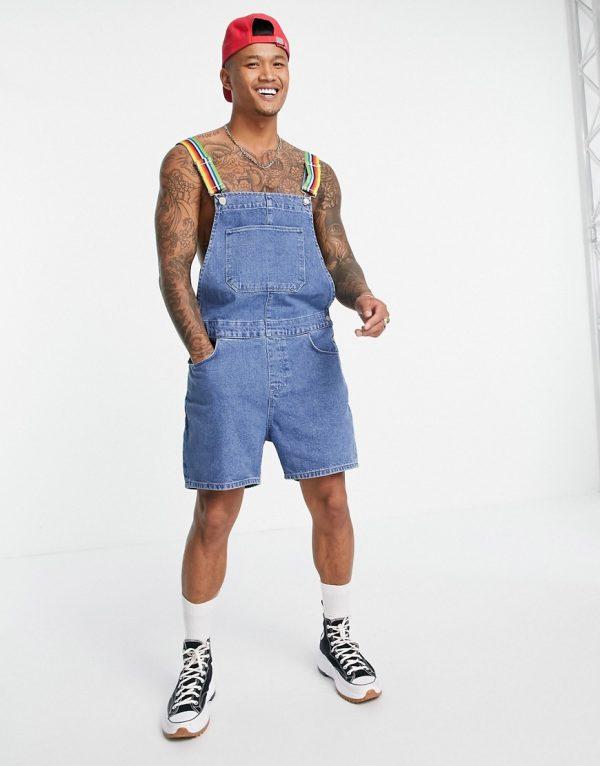 ASOS DESIGN denim overalls in shorter length with rainbow straps-Blues