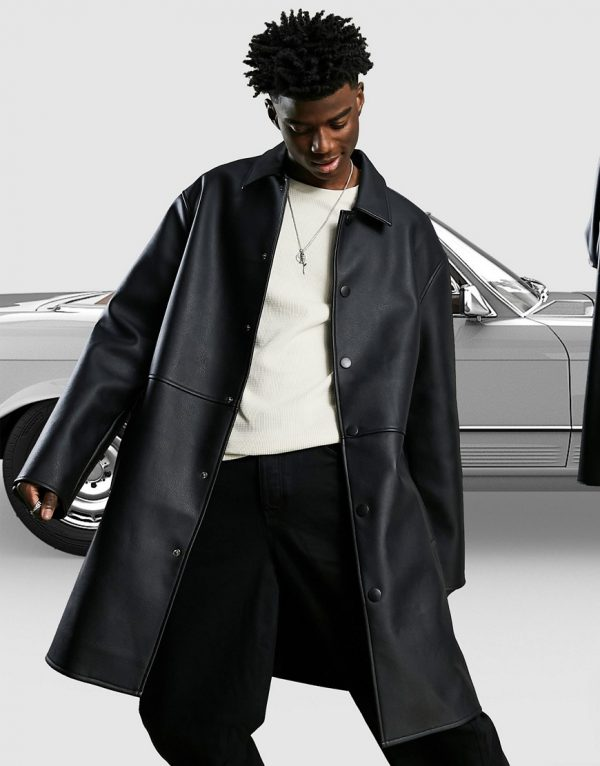 ASOS DESIGN heavyweight trench coat in faux leather-Black