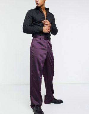 ASOS DESIGN high waist wide leg smart pants in sateen-Purple