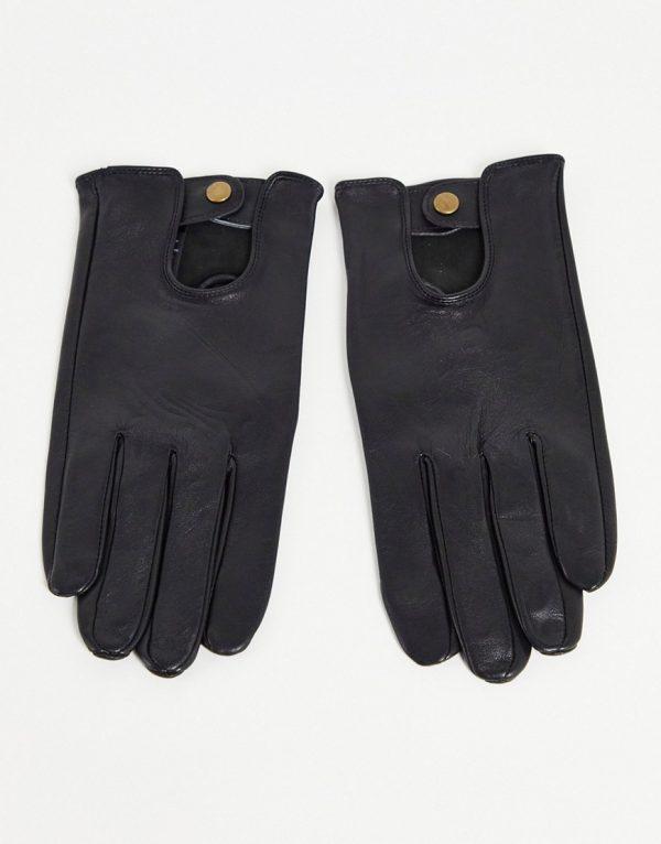 ASOS DESIGN leather driving gloves in black