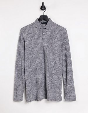 ASOS DESIGN long sleeve polo shirt in interest rib-Grey