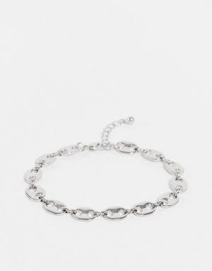 ASOS DESIGN midweight chain bracelet in vintage design in silver tone