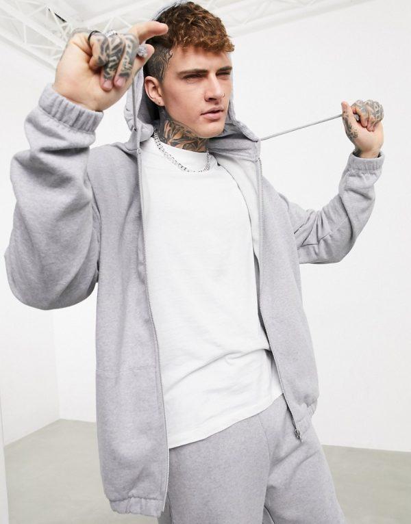 ASOS DESIGN organic oversized tracksuit with zip hoodie & oversized sweatpants in gray marl-Grey