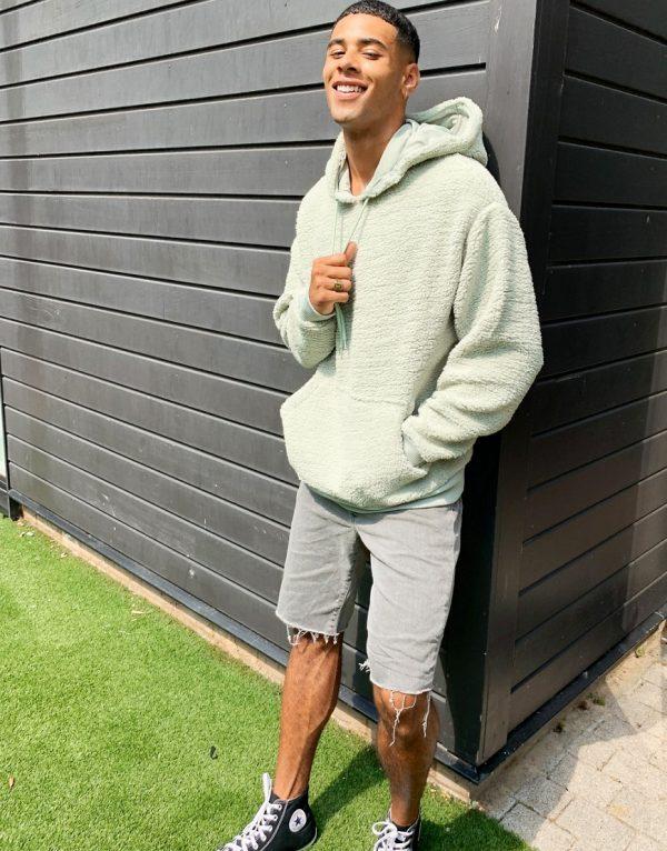 ASOS DESIGN oversized hoodie in light green teddy borg