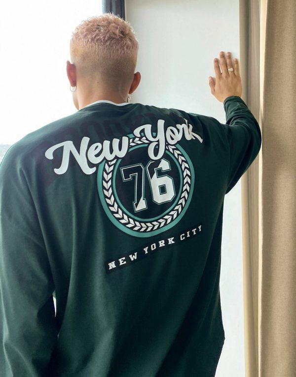 ASOS DESIGN oversized long sleeve t-shirt in green with collegiate New York City print