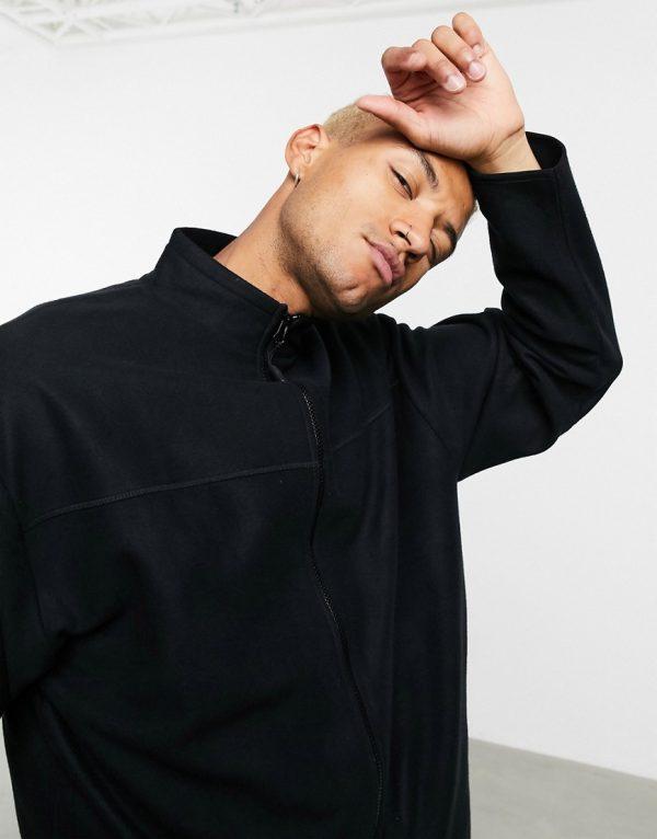 ASOS DESIGN oversized polar fleece track jacket in black