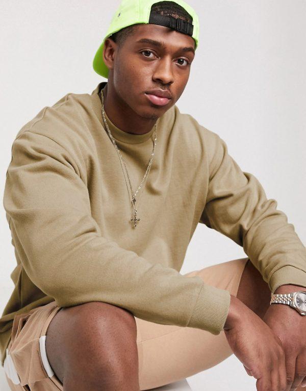 ASOS DESIGN oversized sweatshirt in beige-Neutral