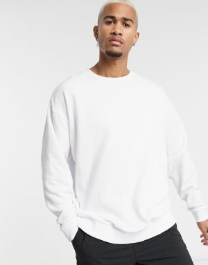 ASOS DESIGN oversized sweatshirt in white