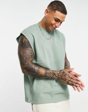 ASOS DESIGN oversized tank in lightweight waffle fabric in khaki-Green