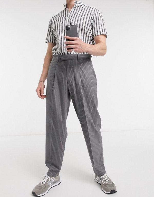 ASOS DESIGN oversized tapered smart pants in gray pinstripe-Grey