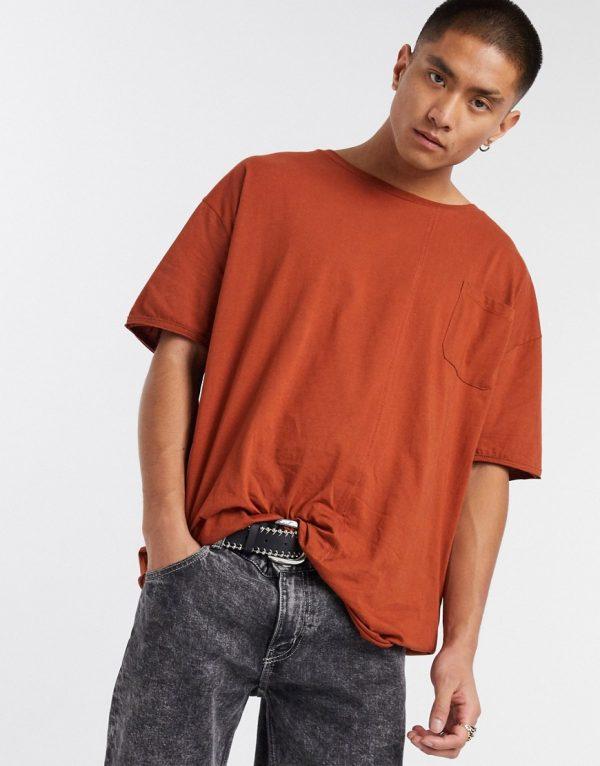 ASOS DESIGN oversized viscose T-shirt with pocket and seam detail in dark orange-Brown