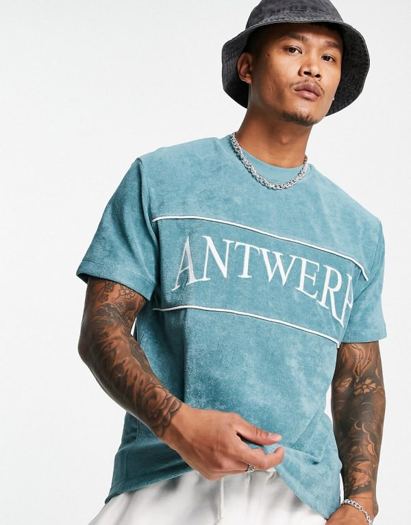ASOS DESIGN relaxed T-shirt in green terrycloth with city embroidery-Blues