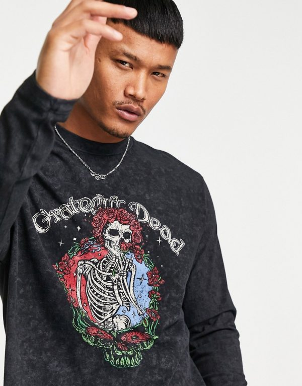 ASOS DESIGN relaxed long sleeve T-shirt with Grateful Dead print in washed black