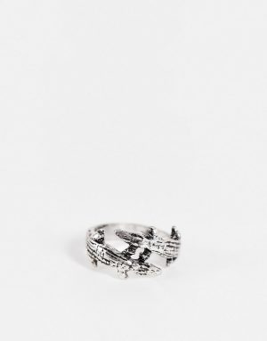 ASOS DESIGN ring with double crocodile design in burnished silver tone
