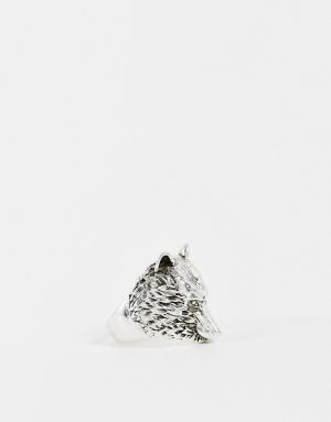 ASOS DESIGN ring with wolf design in silver tone