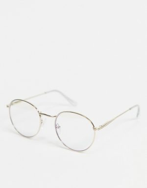 ASOS DESIGN round glasses in gold metal with bluelight lens-Clear