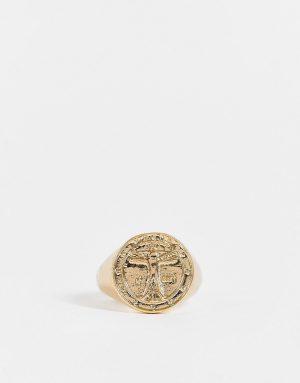 ASOS DESIGN signet ring with Vitruvian Man in gold tone