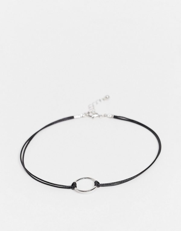 ASOS DESIGN skinny cord anklet with circle detail in black