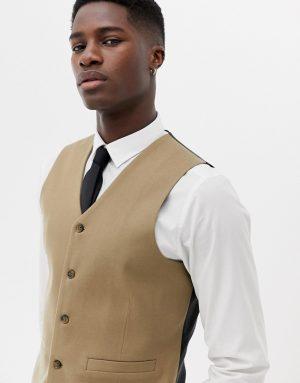 ASOS DESIGN skinny suit vest in camel micro texture-Neutral