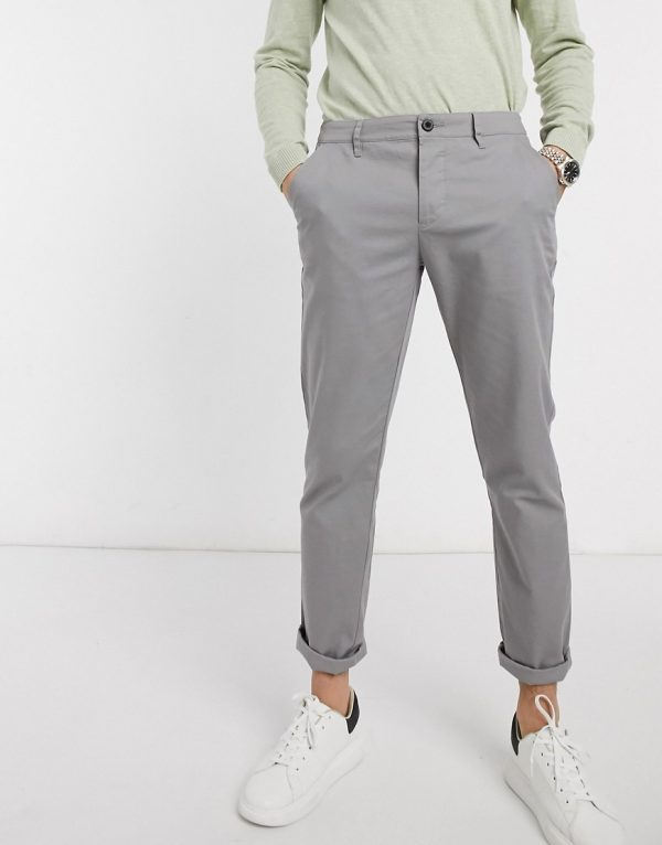 ASOS DESIGN slim chinos in light gray-Grey