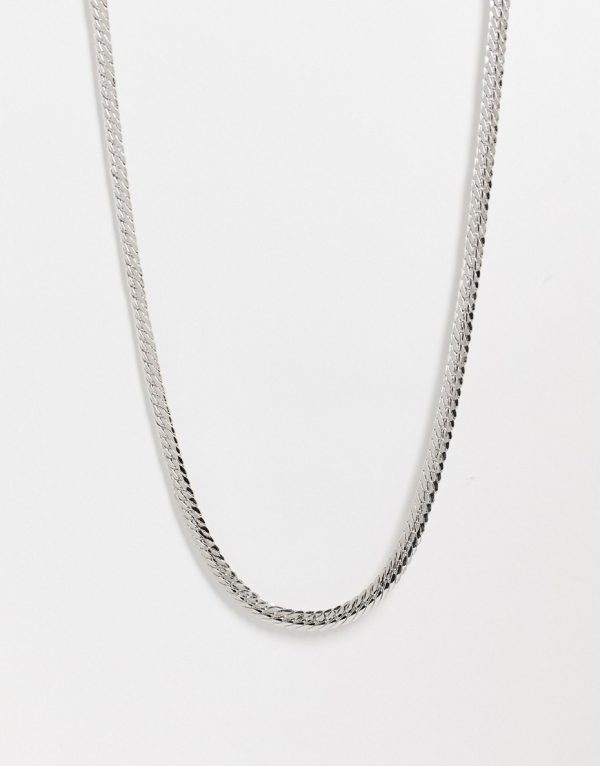 ASOS DESIGN slim neckchain with flat links in silver tone