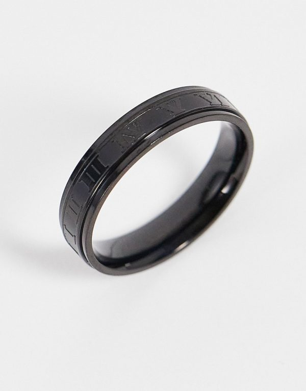 ASOS DESIGN stainless steel band ring with roman numerals in black